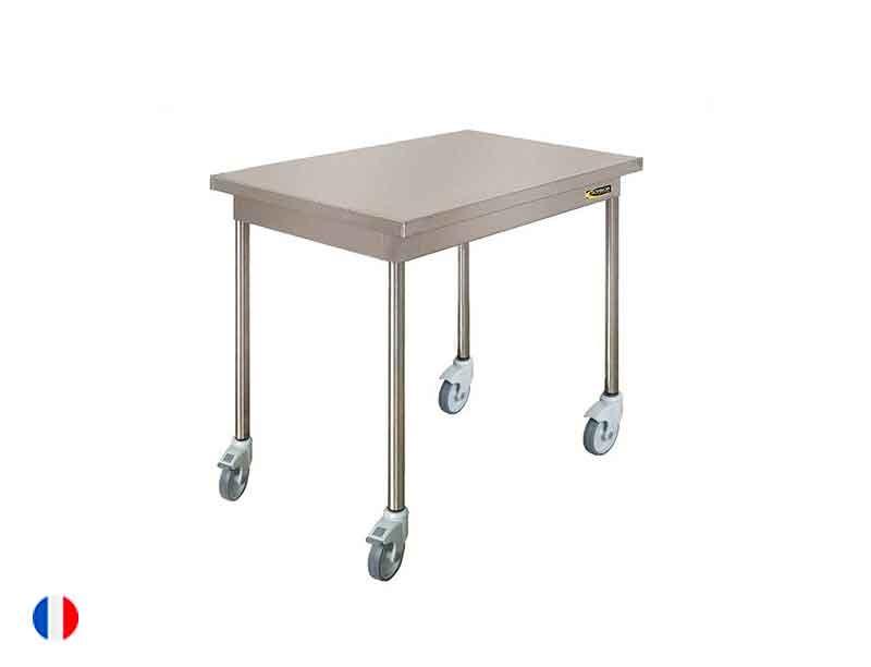 Sofinor Table centrale inox sur roulettes chape polyamide