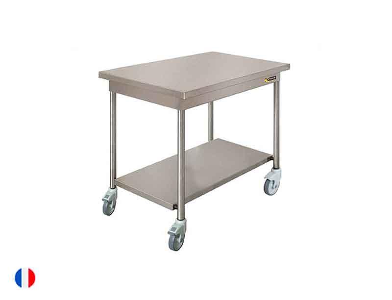 Sofinor Table centrale inox + Étagère basse et roulettes