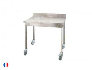 Sofinor Table inox à dosseret + Roulettes