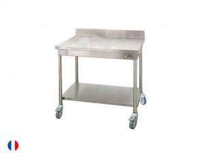 Sofinor Table à dosseret inox + Étagère basse et roulettes