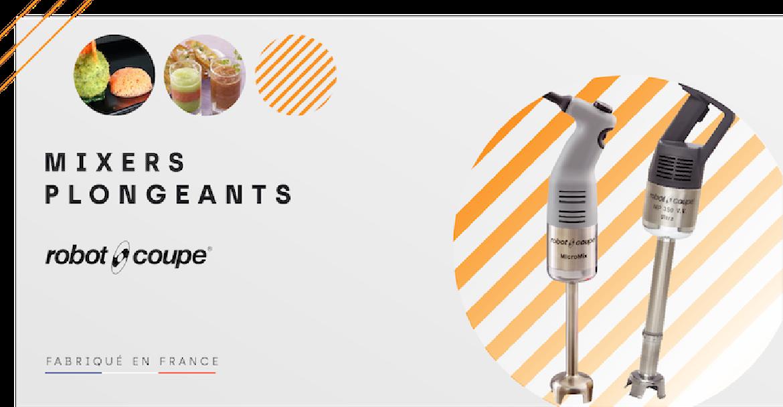 Les mixeurs plongeants Robot-Coupe sont des machines robustes et fabrication Française. Toutes les tailles selon les besoins. Pratiques et efficaces.